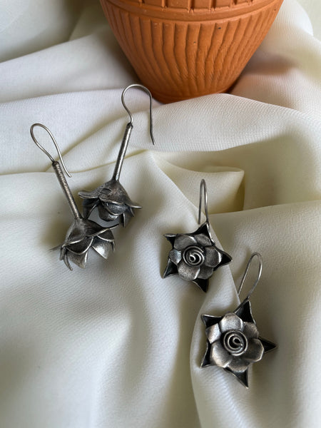 Antique flower hook earrings