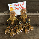 3D elephant polki jhumkas (2 Colors)
