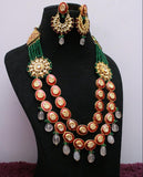 Long Kundan Meenakari Haram with gold foil work