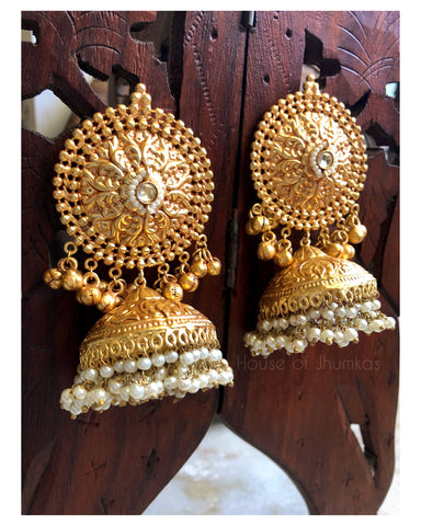 Oversized golden Jhumkas