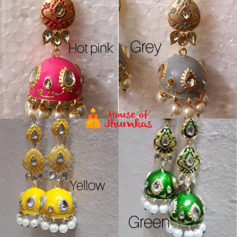 Enamel Jhumkas with maatal