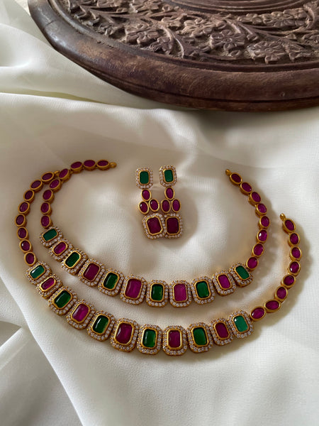 Ruby green necklace with ad stone border