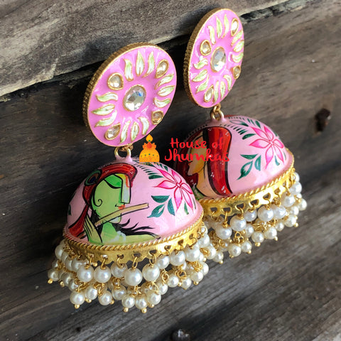 Krishna Radha abstract Jhumkas