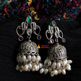 Double layer pearl antique Jhumkas