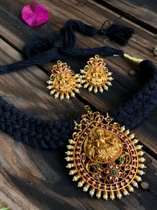 Temple pendant in black thread choker