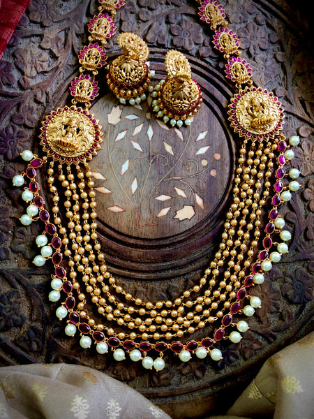 6 layer Lakshmi Haram with jhumkas