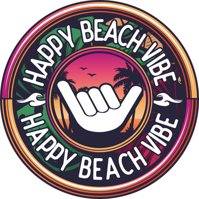 Red Happy Logo Sticker - Happy Beach Vibe