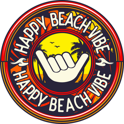 Yellow Happy Logo Sticker - Happy Beach Vibe