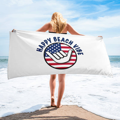 US Flag Shaka Beach Towel - Happy Beach Vibe