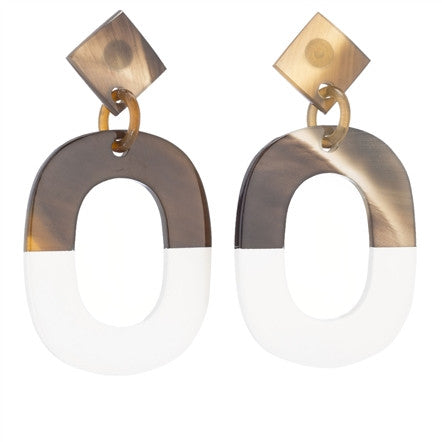 Buffalo Horn White Lacquer Hoops