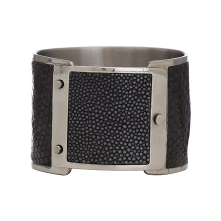 Squeeze Cuff in Shagreen & Black Lizard