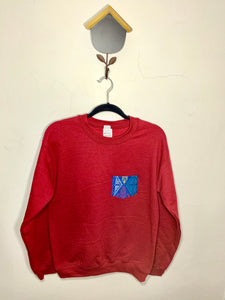 POCKET SWEATSHIRT - Blue on Garnet