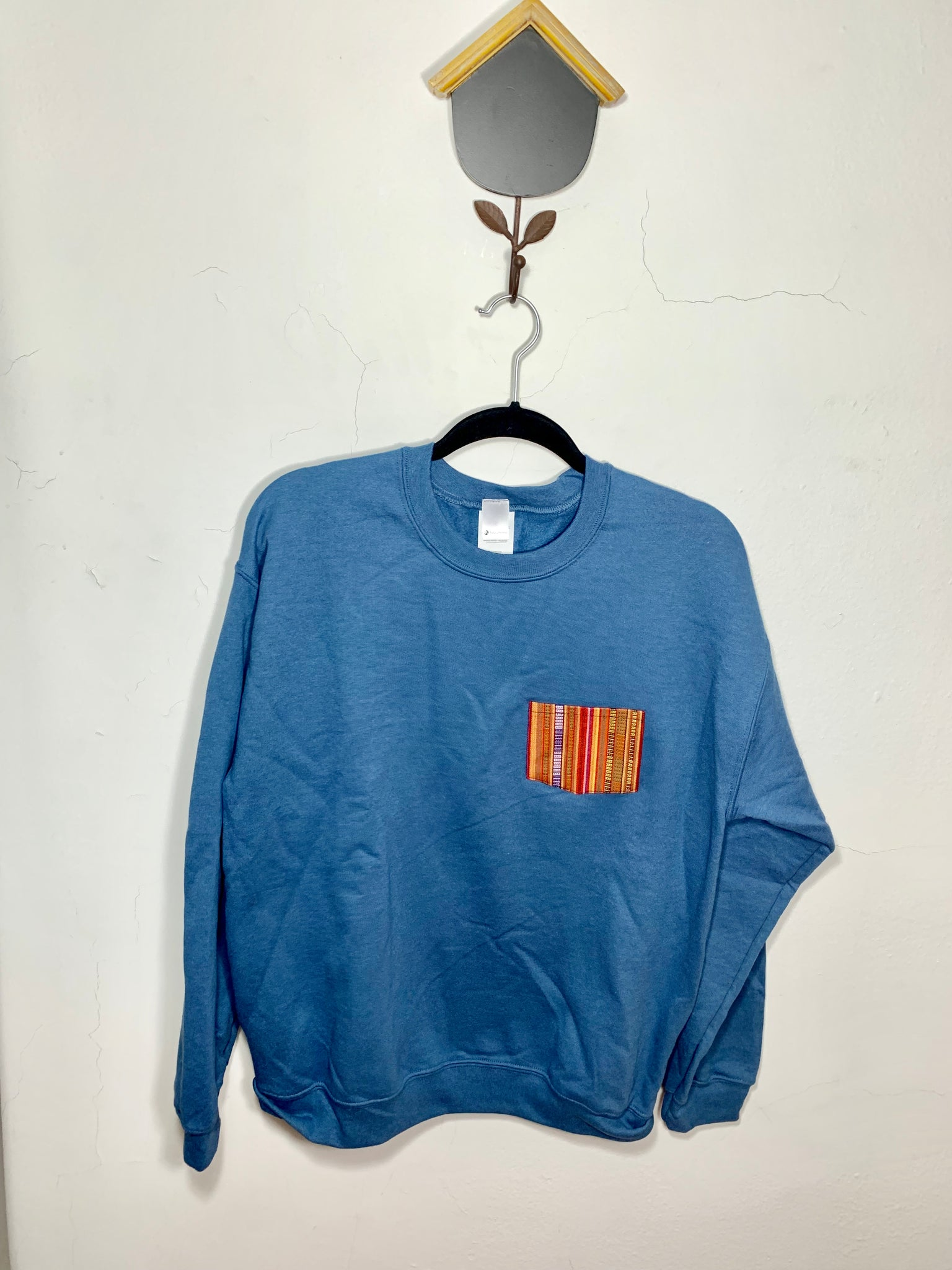 POCKET SWEATSHIRT - Orange on Indigo Blue