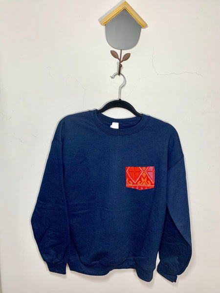 POCKET SWEATSHIRT - Red on Navy