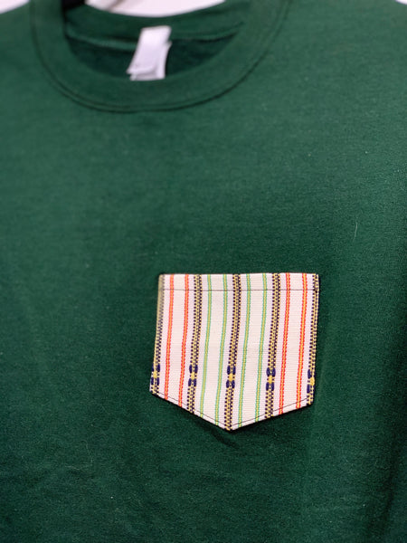 POCKET SWEATSHIRT - White on Green