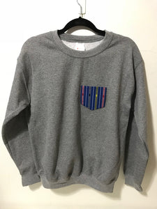 POCKET SWEATSHIRT - Blue on Grey