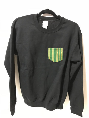 POCKET SWEATSHIRT - Green on Black