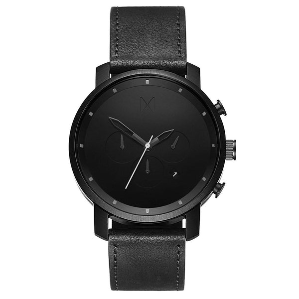 CHRONO BLACK LEATHER MVMT WATCH