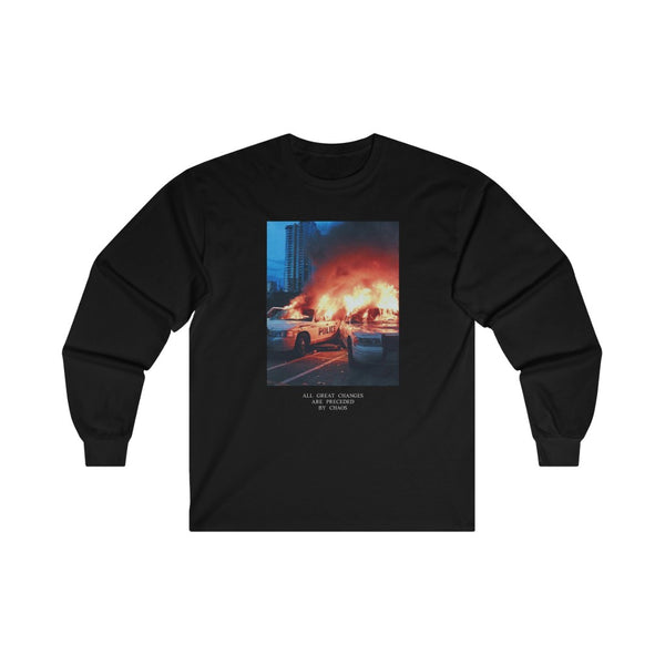 FIRE CHAOS LONG SLEEVE TEE IN BLACK