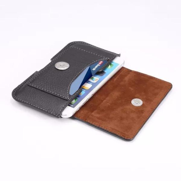 Mobile Phone Button Closure Leather Holster Case