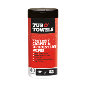 40-Count Tub O' Towels Carpet and Upholstery Cleaning Wipes container