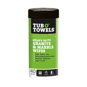 40-Count Tub O' Towels Granite and Marble Cleaning Wipes container