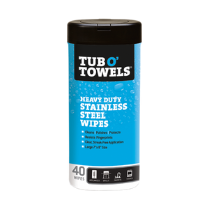 40-Count Tub O' Towels Stainless Steel Cleaning Wipes container