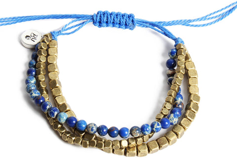 Brass Triple Stack Blue Resizable Bracelet