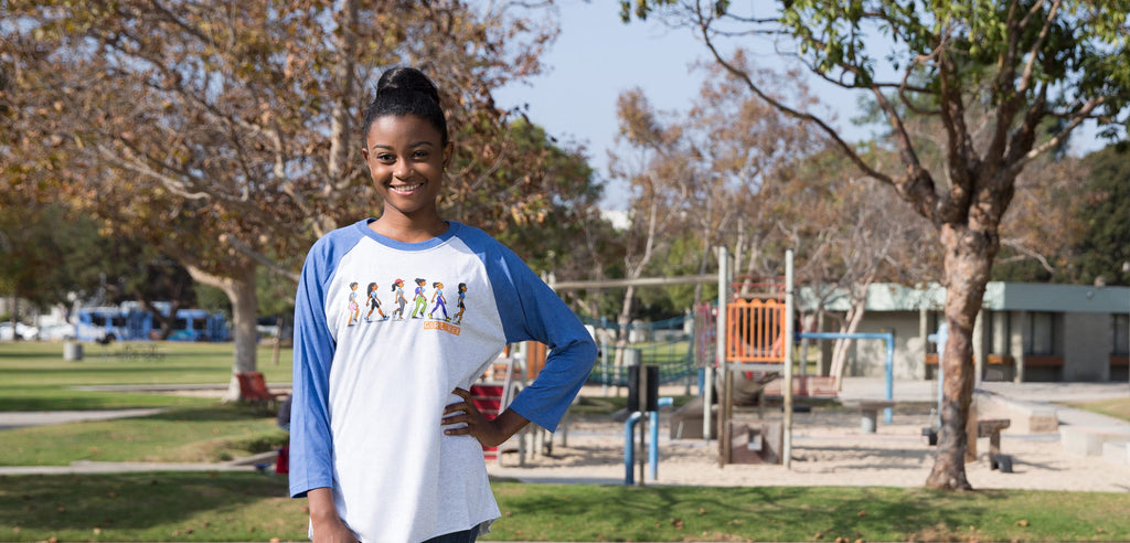 GirlTrek Baseball Tee Trek Design