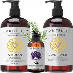 Laritelle Organic Hair Care Set Diamond Strong: Shampoo 17.5 oz + Conditioner 16 oz + Bonus Post-Shampoo Hair Strengthening Treatment