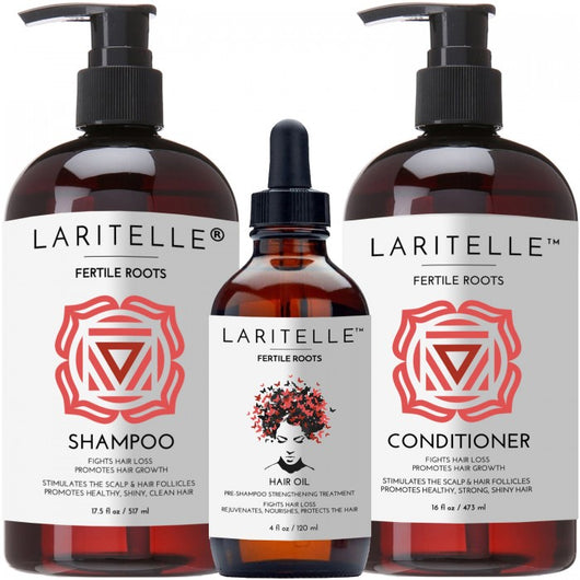 Laritelle Organic Hair Care Set Fertile Roots: Shampoo 17.5 oz + Conditioner 16 oz + Hair Loss Treatment 4 oz