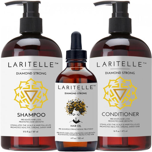 Laritelle Organic Hair Care Set Diamond Strong: Shampoo 17.5 oz + Conditioner 16 oz + Hair Loss Treatment 4 oz