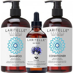 Laritelle Organic Hair Care Set Silk Velvet: Shampoo 17.5 oz + Conditioner 16 oz + Hair Loss Treatment 4 oz