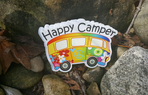 HAPPY CAMPER BUS Vinyl Sticker Bear Mountain Hiking Camping Camp Decal 4 X