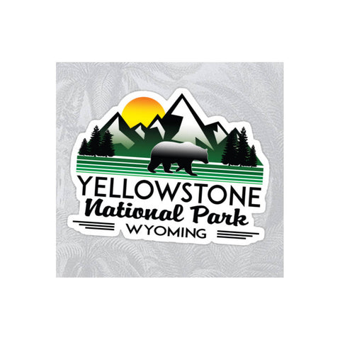 Yellowstone national park wyoming decal sticker vinyl mountains explore hiking camping hike camp climb bear
