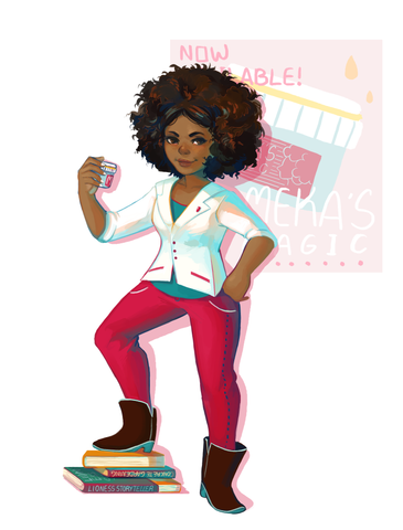 An illustration of Shemeka Cooper, a young black girl from Cleveland and a character in the Woke Girls doll line and book series.