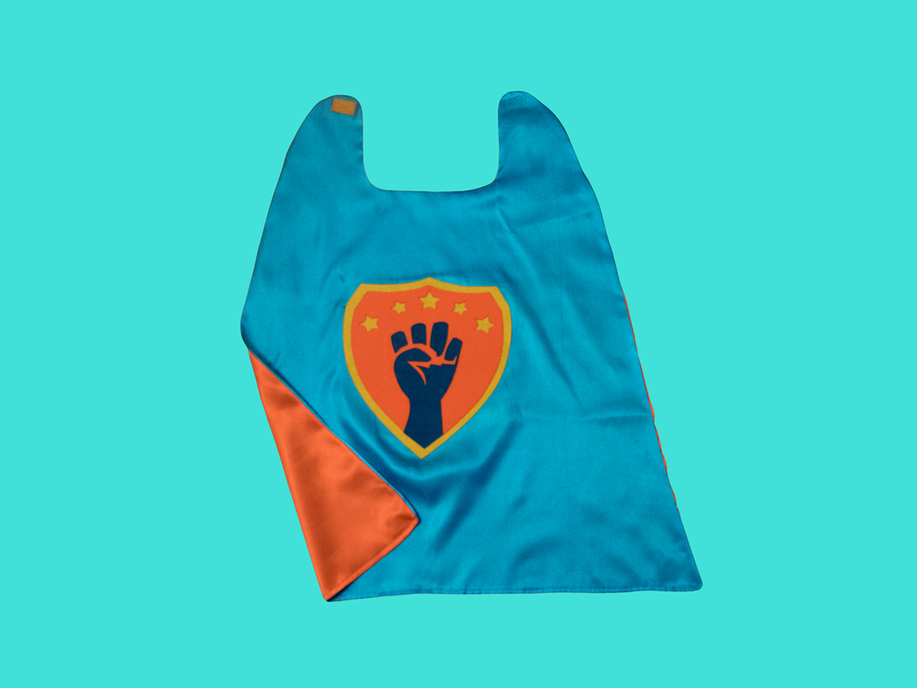 Super Woke Cape in Light Blue/Orange