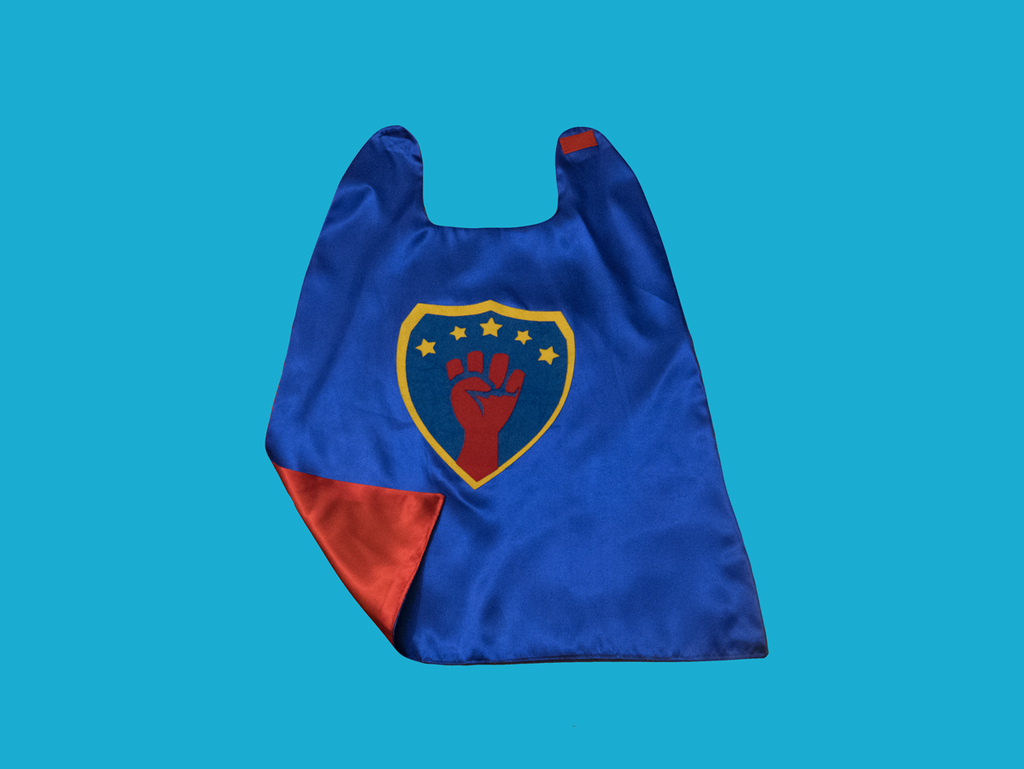 Super Woke Cape in Blue/Red