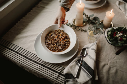 Lentil Soup with Sausage, Goose Creek Mercantile, Abeille Photography, Northwest style, Natural living, Natural Kitchens, Tablescape, ceramics, kitchen linens