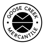 Goose Creek Mercantile, natural goods for the modern home. circle, logo,