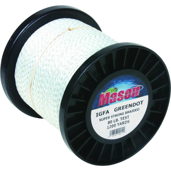 Mason IGFA Green Dot Braided Line - 80 Pounds 1200 Yards - Dacron - Bulluna.com