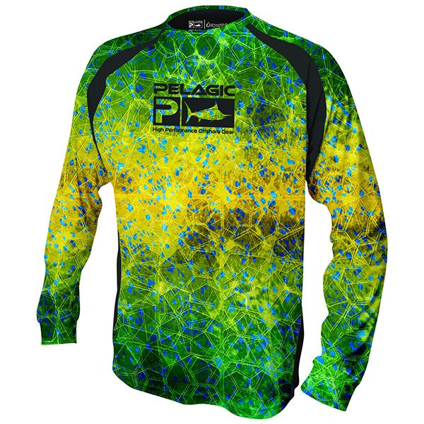 Pelagic Vaportek Dorado Green Hex Long Sleeve Shirt