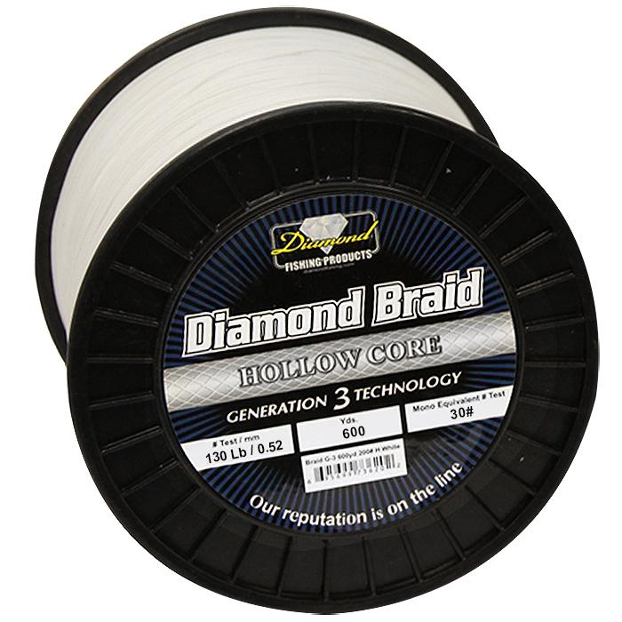 Momoi Diamond Gen 3 Braided Line - 130 Pounds 600 Yards - Hollow Core - White