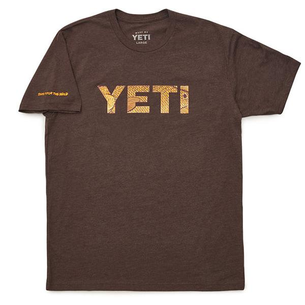 Yeti Redfish Logo Brown Short Sleeve Tee Shirt