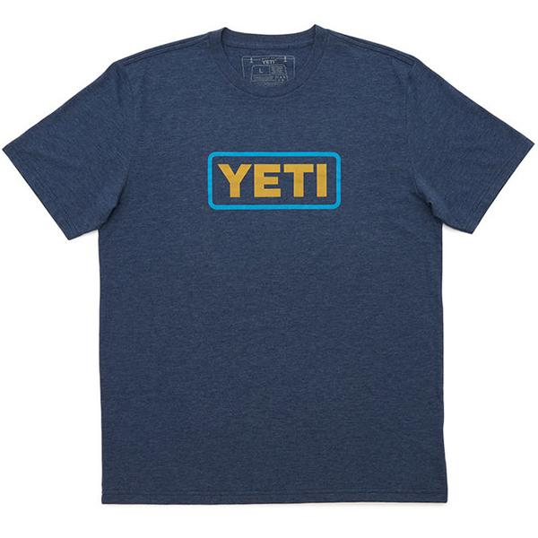Yeti Logo Badge Navy Heather Short Sleeve Tee Shirt