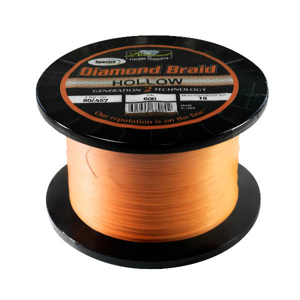 Momoi Diamond Hollow Core Braided Line - 80 Pounds 600 Yards - Orange (HN) - Bulluna.com