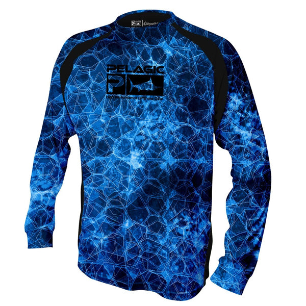 Pelagic Vaportek Blue Hexed Long Sleeve Sun Shirt