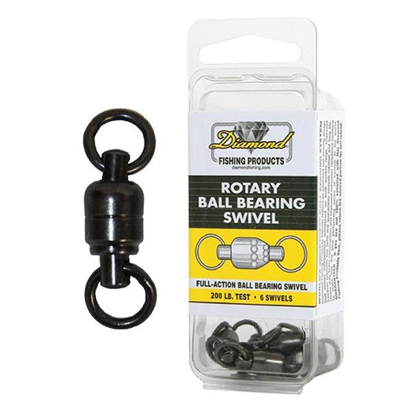 Momoi Diamond Rotary Ball Bearing 200 Pound Test Swivel - 6 Count Pack
