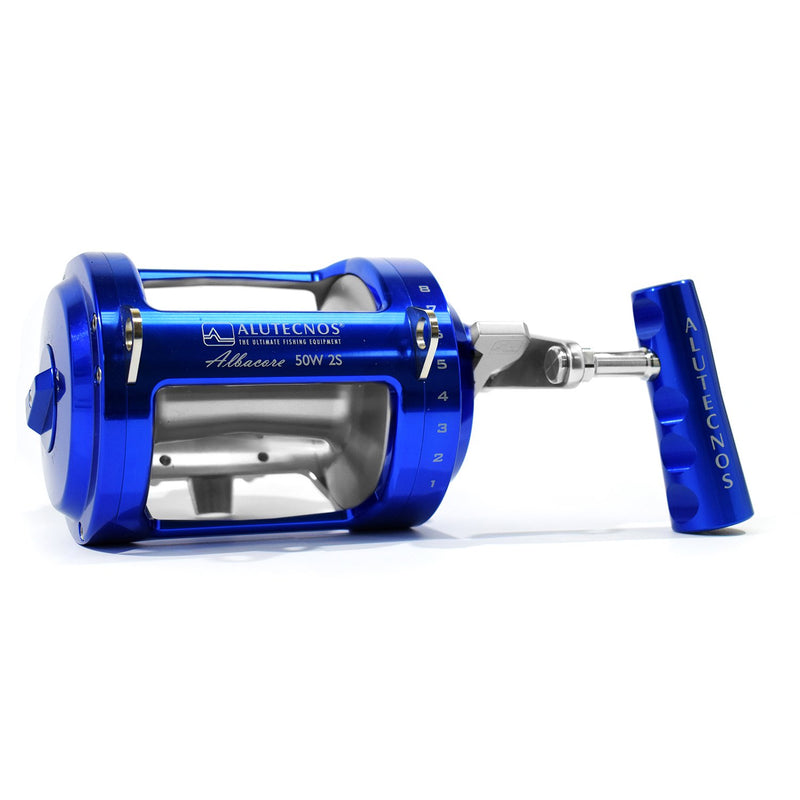 Alutecnos Albacore 50 Wide Two Speed Reel - Custom Color Blue/Silver