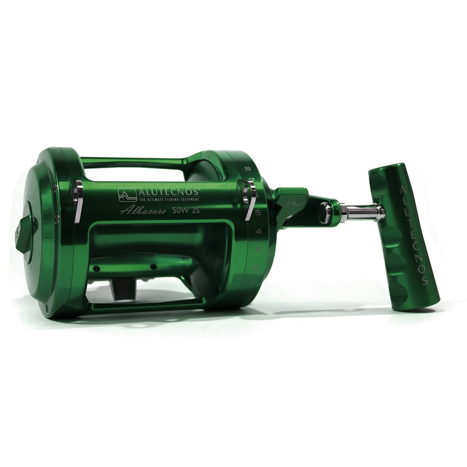 Alutecnos Albacore 50 Wide Two Speed Reel - Green - Bulluna.com